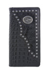 BLACK VEGAN ALLIGATOR LEATHER PRAYING COWBOY METAL EMBLEM LOGO MENS RODEO LONG BIFOLD WALLET WEST WOLF X-2254-7BLK