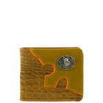 BROWN WESTERN VEGAN ALLIGATOR LEATHER WOLF METAL EMBLEM MENS SHORT BIFOLD ID WALLET WEST WOLF H-2248-4BRN
