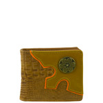 BROWN WESTERN VEGAN ALLIGATOR LEATHER .38 BULLET METAL EMBLEM MENS SHORT BIFOLD ID WALLET WEST WOLF H-2248-2BRN