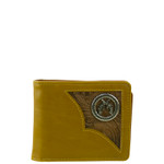 BROWN WESTERN VEGAN LEATHER PISTOL METAL EMBLEM MENS SHORT BIFOLD ID WALLET WEST WOLF H-2253-1BRN