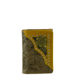 BROWN VEGAN TOOLED LEATHER .38 BULLET METAL EMBLEM STITCH MENS TRIFOLD ID WALLET WEST WOLF S-2245-2BRN