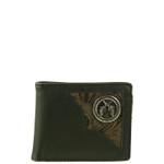 BLACK WESTERN VEGAN LEATHER PISTOL METAL EMBLEM MENS SHORT BIFOLD ID WALLET WEST WOLF H-2253-1BLK