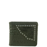 BLACK WESTERN VEGAN ALLIGATOR LEATHER STUDDED MENS SHORT BIFOLD ID WALLET WEST WOLF H-2254-9BLK