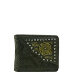 BLACK WESTERN VEGAN TOOLED LEATHER .38 BULLET METAL EMBLEM MENS SHORT BIFOLD ID WALLET WEST WOLF H-2245-2BLK