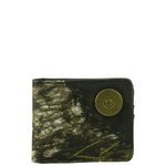 BLACK WESTERN CAMO VEGAN LEATHER 12 GAUGE METAL EMBLEM MENS SHORT BIFOLD ID WALLET WEST WOLF H-2249-2BLK
