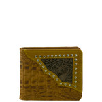 BROWN WESTERN VEGAN ALLIGATOR LEATHER STUDDED MENS SHORT BIFOLD ID WALLET WEST WOLF H-2254-9BRN
