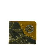 BROWN WESTERN CAMO VEGAN LEATHER PISTOL METAL EMBLEM MENS SHORT BIFOLD ID WALLET WEST WOLF H-2249-1BRN
