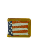 BROWN WESTERN VEGAN LEATHER AMERICAN FLAG MENS SHORT BIFOLD ID WALLET WEST WOLF H-2250BRN