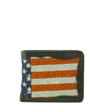 BLACK WESTERN VEGAN LEATHER AMERICAN FLAG MENS SHORT BIFOLD ID WALLET WEST WOLF H-2250BLK