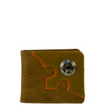 BROWN WESTERN VEGAN ALLIGATOR  LEATHER STAR METAL EMBLEM MENS SHORT BIFOLD ID WALLET WEST WOLF H-2248-11BRN