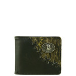 BLACK WESTERN VEGAN TOOLED LEATHER CAMO WOLF METAL EMBLEM MENS SHORT BIFOLD ID WALLET WEST WOLF H-2255-4BLK