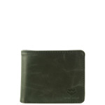 BLACK VEGAN LEATHER MENS SHORT BIFOLD ID WALLET WEST WOLF H-2252BLK