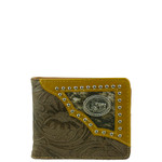 BROWN WESTERN TOOLED VEGAN LEATHER PRAYING COWBOY METAL EMBLEM MENS SHORT BIFOLD ID WALLET WEST WOLF H-2245-7BRN