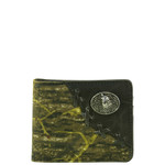 BLACK WESTERN VEGAN LEATHER CAMO WOLF METAL EMBLEM MENS SHORT BIFOLD ID WALLET WEST WOLF H-2249-4BLK
