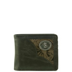 BLACK VEGAN LEATHER VIRGIN MARY METAL EMBLEM MENS SHORT BIFOLD ID WALLET WEST WOLF H-2253-8BLK