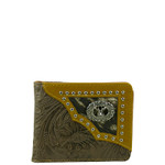 BROWN VEGAN TOOLED LEATHER DEER METAL EMBLEM MENS SHORT BIFOLD ID WALLET WEST WOLF H-2245-5BRN