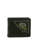 BLACK VEGAN TOOLED LEATHER DEER METAL EMBLEM MENS SHORT BIFOLD ID WALLET WEST WOLF H-2245-5BLK