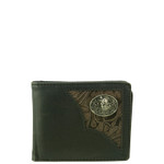 BLACK WESTERN VEGAN LEATHER TOOLED WOLF METAL EMBLEM MENS SHORT BIFOLD ID WALLET WEST WOLF H-2253-4BLK