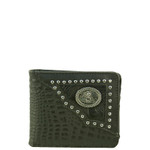 BLACK VEGAN ALLIGATOR LEATHER VIRGIN MARY METAL EMBLEM MENS SHORT BIFOLD ID WALLET WEST WOLF H-2254-8BLK