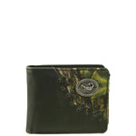 BLACK WESTERN VEGAN LEATHER CAMO SCORPION METAL EMBLEM MENS SHORT BIFOLD ID WALLET WEST WOLF H-2255-3BLK