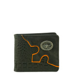 BLACK WESTERN ALLIGATOR VEGAN LEATHER BULL LONGHORN METAL EMBLEM MENS SHORT BIFOLD ID WALLET WEST WOLF H-2248-6BLK