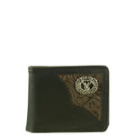 BLACK WESTERN VEGAN LEATHER TOOLED DEER METAL EMBLEM MENS SHORT BIFOLD ID WALLET WEST WOLF H-2253-5BLK