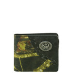 BLACK WESTERN VEGAN LEATHER CAMO SCORPION METAL EMBLEM MENS SHORT BIFOLD ID WALLET WEST WOLF H-2249-3BLK