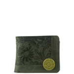 BLACK WESTERN TOOLED VEGAN LEATHER 12 GAUGE METAL EMBLEM MENS SHORT BIFOLD ID WALLET WEST WOLF H-2251BLK
