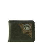 BLACK WESTERN VEGAN LEATHER BULL LONGHORN METAL EMBLEM MENS SHORT BIFOLD ID WALLET WEST WOLF H-2253-6BLK