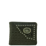 BLACK WESTERN ALLIGATOR VEGAN LEATHER BULL LONGHORN METAL EMBLEM MENS SHORT BIFOLD ID WALLET WEST WOLF H-2254-6BLK