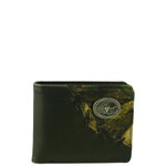 BLACK WESTERN VEGAN LEATHER CAMO BULL LONGHORN METAL EMBLEM MENS SHORT BIFOLD ID WALLET WEST WOLF H-2255-6BLK
