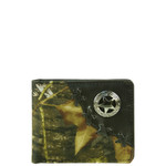 BLACK WESTERN VEGAN LEATHER CAMO STAR METAL EMBLEM MENS SHORT BIFOLD ID WALLET WEST WOLF H-2249-11BLK