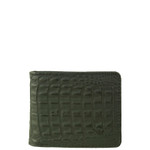 BLACK VEGAN ALLIGATOR LEATHER MENS SHORT BIFOLD ID WALLET WEST WOLF H-2256BLK