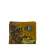 BROWN WESTERN VEGAN LEATHER CAMO WOLF METAL EMBLEM MENS SHORT BIFOLD ID WALLET WEST WOLF H-2249-4BRN
