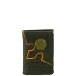 BLACK VEGAN ALLIGATOR LEATHER .38 BULLET METAL EMBLEM STITCH MENS TRIFOLD ID WALLET WEST WOLF S-2248-2BLK