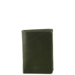 BLACK VEGAN LEATHER STITCH MENS TRIFOLD ID WALLET WEST WOLF S-2252BLK
