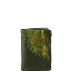 BLACK VEGAN LEATHER CAMO .38 BULLET METAL EMBLEM STITCH MENS TRIFOLD ID WALLET WEST WOLF S-2255-2BLK
