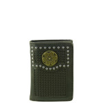BLACK VEGAN LEATHER WEAVE .38 BULLET METAL EMBLEM STITCH MENS TRIFOLD ID WALLET WEST WOLF S-2247-2BLK