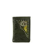 BLACK VEGAN LEATHER TOOLED DEER METAL EMBLEM STITCH MENS TRIFOLD ID WALLET WEST WOLF S-2245-5BLK