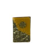 BROWN VEGAN CAMO LEATHER .38 BULLET METAL EMBLEM STITCH MENS TRIFOLD ID WALLET WEST WOLF S-2249-13BRN