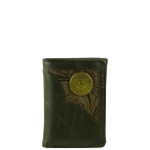 BLACK VEGAN LEATHER TOOLED 12 GAUGE METAL EMBLEM STITCH MENS TRIFOLD ID WALLET WEST WOLF S-2253-13BLK