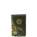 BLACK VEGAN LEATHER CAMO .38 BULLET METAL EMBLEM STITCH MENS TRIFOLD ID WALLET WEST WOLF S-2249-2BLK