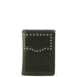 BLACK VEGAN LEATHER WEAVE STITCH MENS TRIFOLD ID WALLET WEST WOLF S-2247-9BLK