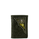 BLACK VEGAN TOOLED LEATHER WOLF METAL EMBLEM STITCH MENS TRIFOLD ID WALLET WEST WOLF S-2245-4BLK