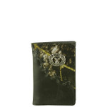 BLACK VEGAN LEATHER CAMO DEER METAL EMBLEM STITCH MENS TRIFOLD ID WALLET WEST WOLF S-2255-5BLK