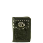 BLACK VEGAN TOOLED LEATHER STITCH MENS TRIFOLD ID WALLET WEST WOLF S-2253-9BLK