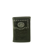 BLACK VEGAN TOOLED LEATHER PRAYING COWBOY METAL EMBLEM STITCH MENS TRIFOLD ID WALLET WEST WOLF S-2246-7BLK