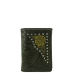 BLACK VEGAN TOOLED LEATHER .38 BULLET METAL EMBLEM STITCH MENS TRIFOLD ID WALLET WEST WOLF S-2245-2BLK