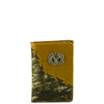 BROWN VEGAN CAMO LEATHER DEER METAL EMBLEM STITCH MENS TRIFOLD ID WALLET WEST WOLF S-2249-5BRN