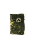 BLACK VEGAN CAMO LEATHER DEER METAL EMBLEM STITCH MENS TRIFOLD ID WALLET WEST WOLF S-2249-5BLK